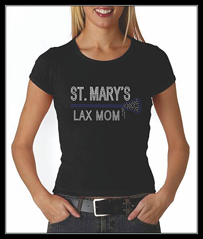 ST. MARY'S ANNAPOLIS LAX MOM RHINESTONE CUSTOM SHIRT