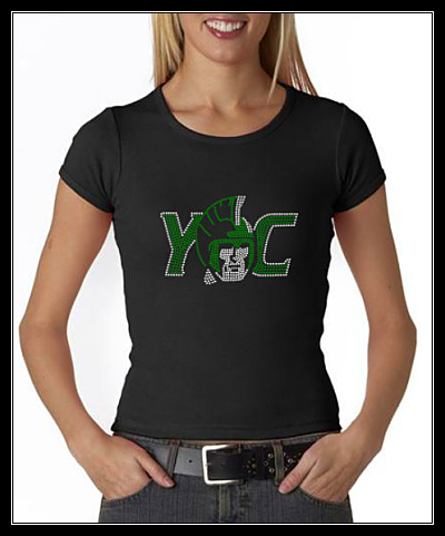 YORK COLLEGE RHINESTONE CUSTOM SHIRT - BLACK STONES