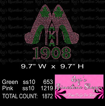 SORORITY HIGH HEEL AKA 1908 RHINESTONE DIGITAL DOWNLOAD OR TRANSFER