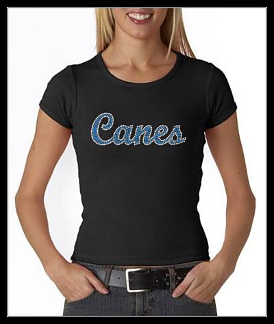 CANES OPTION 2 RHINESTONE TRANSFER OR DIGITAL DOWNLOAD