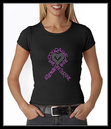 PINK CANCER RIBBON RHINESTONE TRANSFER OR DIGITAL DOWNLOAD