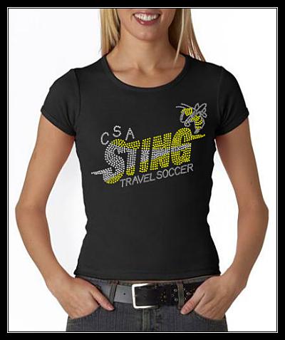 CSA STING TRAVEL SOCCER RHINESTONE  CUSTOM SHIRT
