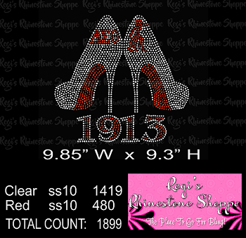 SORORITY HIGH HEEL DELTA 1913 RHINESTONE DIGITAL DOWNLOAD OR TRANSFER