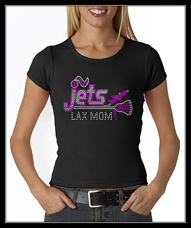 JETS LAX MOM RHINESTONE CUSTOM SHIRT