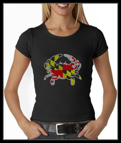 MARYLAND FLAG CRAB RHINESTONE SHIRT
