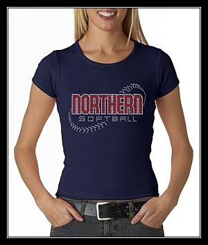 NORTHERN SOFTBALL NAVY RHINESTONE CUSTOM SHIRT