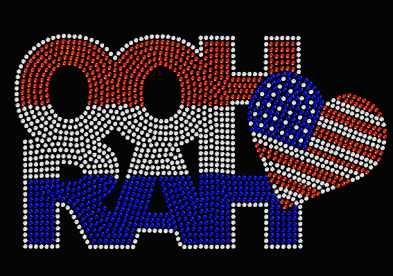 OOHRAH USA FLAG HEART RHINESTONE TRANSFER