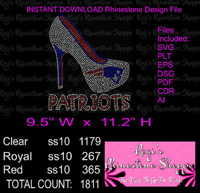 PATRIOTS HIGH HEEL RHINESTONE DIGITAL DOWNLOAD OR TRANSFER
