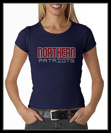 NORTHERN PATRIOTS RHINESTONE SHIRT -NAVY