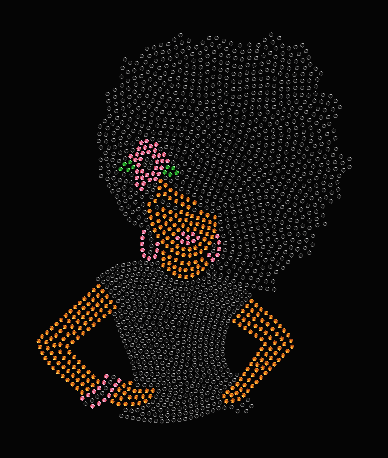 AFRO GIRL DIVA AND FLOWER RHINESTONE TRANSFER
