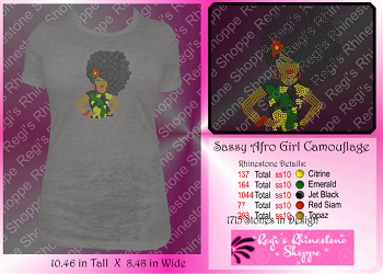 AFRO GIRL DIVA w/ CAMO SHIRT AND FLOWER RHINESTONE TRANSFER