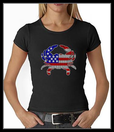 USA FLAG CRAB RHINESTONE TRANSFER OR DIGITAL DOWNLOAD