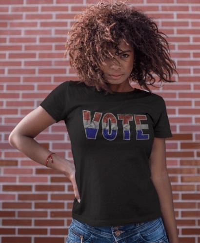 VOTE WORD RHINESTONE TRANSFER OR DIGITAL DOWNLOAD